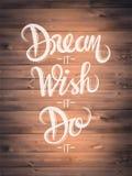Motivational vektor med dröm- text Arkivfoto