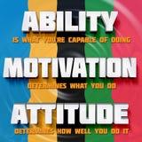 Motivational words: Ability, motivation, attitude Stock Photo