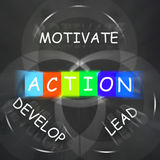 Motivational Words Displays Action Develop Lead and Motivate Stock Photos