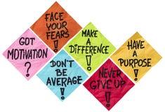 Motivationpåminnelseanmärkningar Arkivfoto