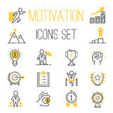 Motivations icons vector set. Vector set motivations icons related to business management, strategy, career progress and business process. Mono line motivations Royalty Free Stock Photo