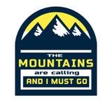 Motivations-Zitat über Berge Lizenzfreie Stockfotos