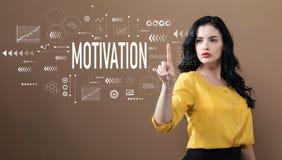 Motivationtext med affärskvinnan royaltyfria bilder