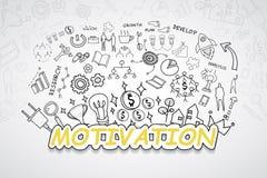 Motivationtext, med idérik idé för plan för strategi för framgång för teckningsdiagram- och grafaffär, te för modern design för i Royaltyfria Bilder