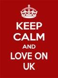 Motivazione bianca rosso rettangolare verticale l'amore sul manifesto BRITANNICO basato sul retro stile d'annata Immagini Stock Libere da Diritti