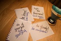 Motivazione di scrittura e del taccuino Fotografie Stock