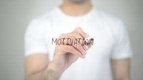 Motivazione, scrittura dell'uomo sullo schermo trasparente Fotografia Stock Libera da Diritti
