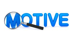 Motive - Blue 3D Word Through a Magnifying Glass. Stock Photography