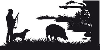 Motive hunting of animals and landscapes26 stock illustration
