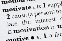 Motiveer woordwoordenboek defin Royalty-vrije Stock Foto's