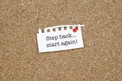 Motivgeschäfts-Phrase/Schritt-Rückseite beginnen wieder Lizenzfreies Stockbild