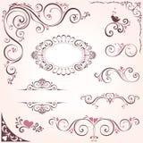 Motivi decorati dei biglietti di S. Valentino Fotografie Stock