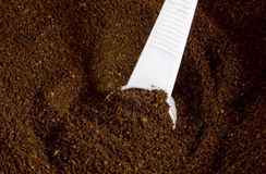 Motivi di caffè con la paletta Fotografie Stock Libere da Diritti