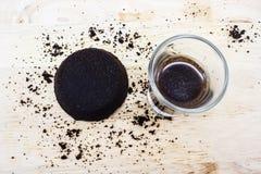 Motivi di caffè e caffè in vetro Fotografie Stock