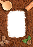 Motivi di caffè su bianco Fotografia Stock