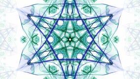 Motivi a stelle simmetrici dell'acquerello verde e blu nel moto divergente e convergente del tunnel, frattale su fondo bianco video d archivio