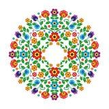 Motivo étnico mexicano con el estampado de flores del estilo del círculo ilustración del vector