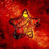 Motivo da estrela do metal do fio no vermelho, Close-up Foto de Stock