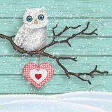 Motivo de la Navidad, búho blanco lindo que se sienta en rama seca delante de la pared de madera azul, ejemplo Imágenes de archivo libres de regalías