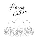 Motivo de Pascua con los huevos blancos y las rosas, ejemplo ilustración del vector
