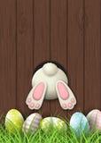 Motivo de Pascua, parte inferior del conejito y huevos de Pascua en hierba fresca en el fondo de madera marrón, ejemplo libre illustration