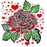 Motivo de Rosa e teste padrão do coração Imagem de Stock
