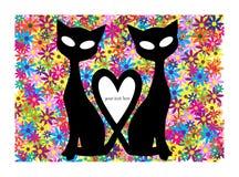 Motivo del biglietto di S. Valentino con i gatti ed i fiori Fotografia Stock