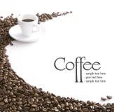 Motivo del café en el fondo blanco Fotografía de archivo libre de regalías