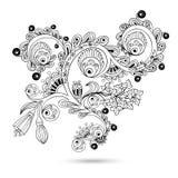 Motivo del rotolo dell'incisione del modello di fiore per la carta Illustrazione Vettoriale