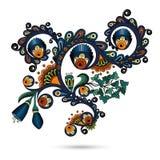Motivo del rotolo dell'incisione del modello di fiore per la carta Illustrazione di Stock