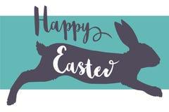 Motivo felice della cartolina d'auguri della fonte di tipografia di Pasqua di vettore con la siluetta di salto del coniglio illustrazione vettoriale