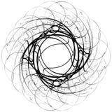 Motivo geometrico circolare Elemento astratto di op-arte di gradazione di grigio illustrazione vettoriale
