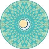 Motivo islamico rotondo con gli ornamenti crescenti illustrazione di stock