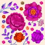 Motivo piega orientale antico di vettore dei fiori Scialle di Manton, ornamento decorativo del ricamo di flamenco di Manila dello Fotografie Stock