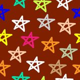 Motivo a stelle senza cuciture disegnato a mano Immagini Stock