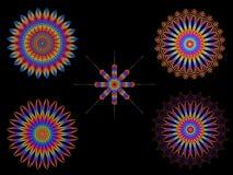 Motivos coloridos psicadélicos do Spirograph do caleidoscópio Imagens de Stock Royalty Free