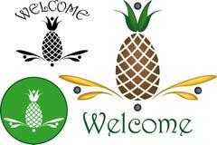 Motivos da hospitalidade do abacaxi Fotografia de Stock Royalty Free