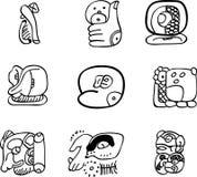Motivos do mexicano, do asteca ou do maya, glyphs Foto de Stock