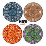 Motivos indianos ajustados em um círculo Vetor Imagens de Stock Royalty Free