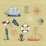 Motivos marinhos no cartão Foto de Stock Royalty Free