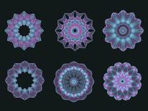 Motivos psicadélicos do Spirograph do caleidoscópio de turquesa Fotos de Stock Royalty Free
