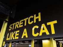 Motivtext in der Turnhalle, damit die Sportmänner und -frauen härteres ausbilden stockbild