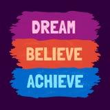 Motivzitat über Traum Stockbilder