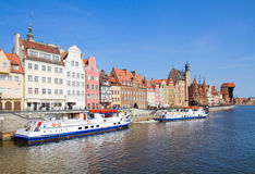 Motlawa embankment, Gdansk. Motlawa embankment in old town, Gdansk ,  Poland Royalty Free Stock Photography