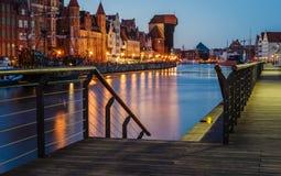 Motlawa flodinvallning med kranen, Gdansk Arkivfoto