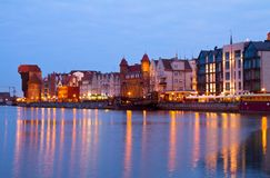 Motlawa and old  Gdansk at night. Poland Royalty Free Stock Images