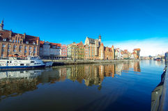 Motlawa river and colourful houses in Gdansk city, Poland Stock Photography
