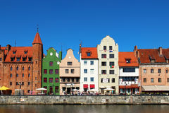 Motlawa river embankment in downtown Gdansk Stock Photography