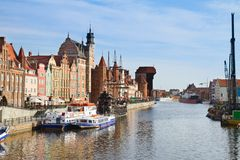 Motlawa river embankment, Gdansk Royalty Free Stock Image