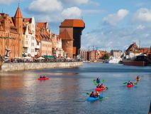 Motlawa river with kayakers in Gdansk Stock Images